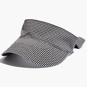 Madewell Black + White Gingham Tie-Back Visor S/M